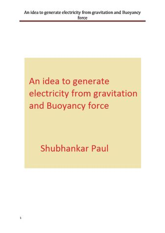 An idea to generate electricity from gravitation and Buoyancy force