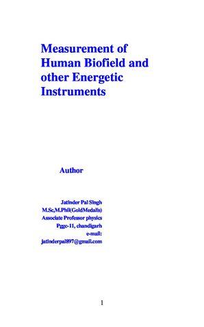 Measurement of Human Biofield  Energetic Instruments