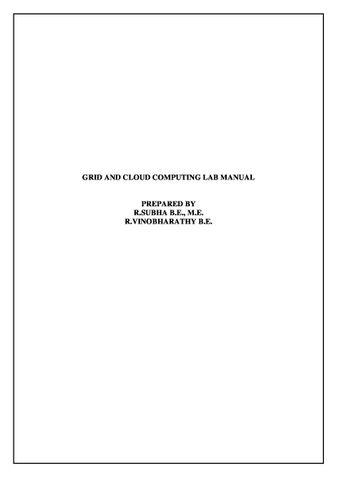 GRID AND CLOUD COMPUTING LAB