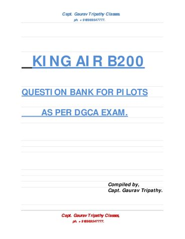 KING AIR B200 QUESTION BANK.