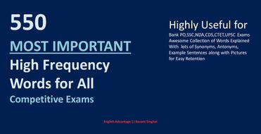 550 Most Important High Frequency Words for All Competitive Exams