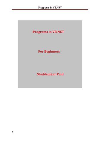 Programs in VB.NET