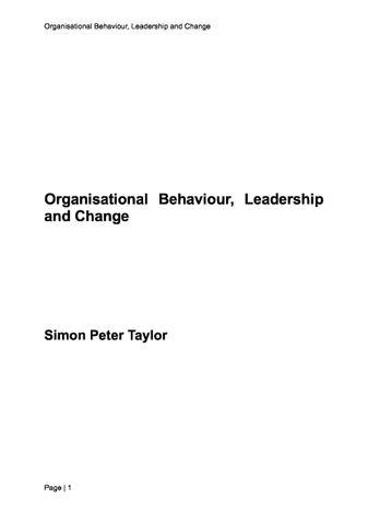Organisational Behaviour, Leadership and Change