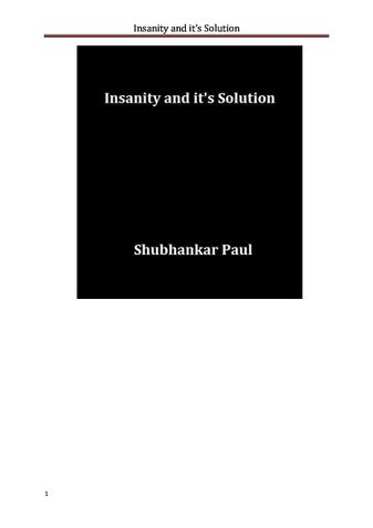 Insanity and it's Solution