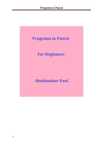 Programs in Pascal