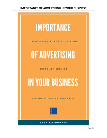 IMPORTANCE OF ADVERTISING IN YOUR BUSINESS