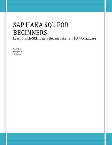 SAP HANA SQL for Dummies