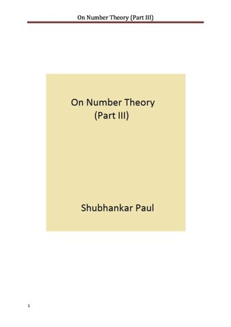 On Number Theory (Part III)