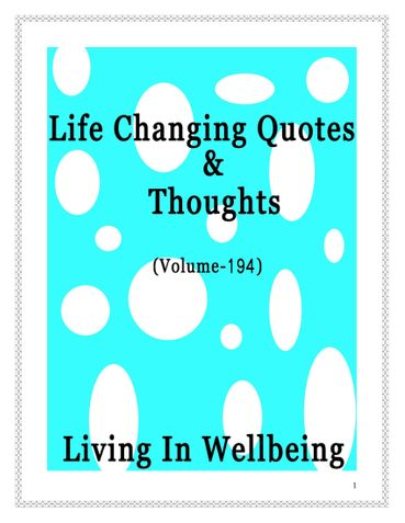 Life Changing Quotes & Thoughts (Volume 194)
