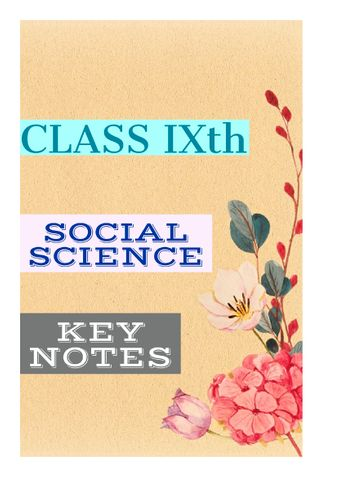 Class 9th SST (KEY NOTES)