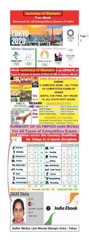 Summary of Olympics - For all Types of Competitive Exams of India