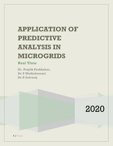 APPLICATION OF PREDICTIVE ANALYSIS IN MICROGRIDS Real Time