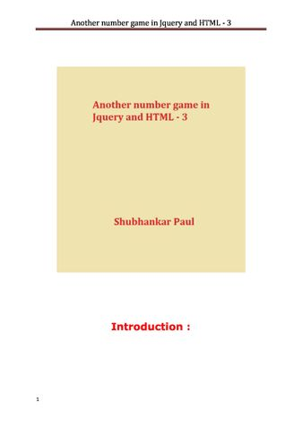 Another number game in Jquery and HTML - 3