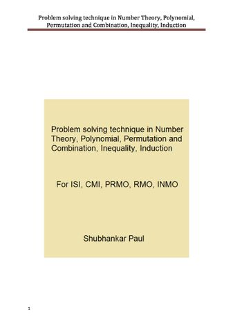 Problem solving technique in Number Theory, Polynomial, Permutation and Combination, Inequality, Induction