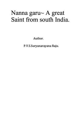 Nanna garu- A great saint from South India.