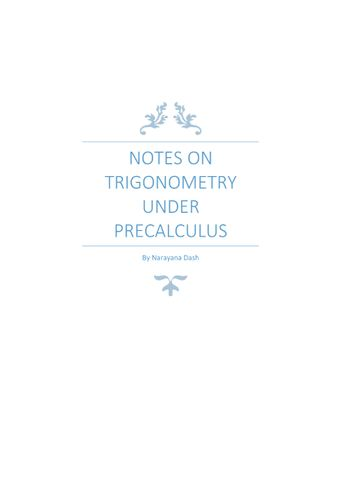 Notes On Trigonometry Under Pre-calculus