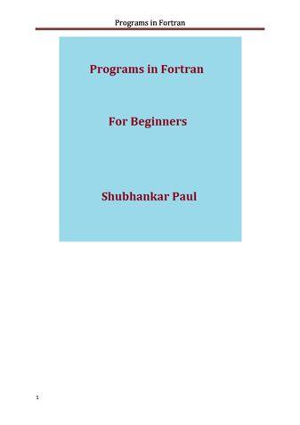 Programs in Fortran