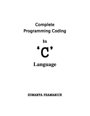 Complete Programming Coding In C Language