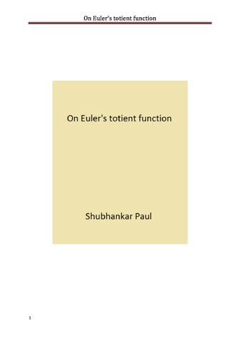 On Euler's totient function
