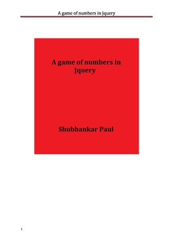 A game of numbers in Jquery