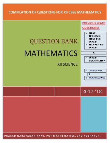 XII MATHEMATICS QUESTION BANK