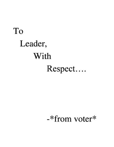 To Leader, With Respect