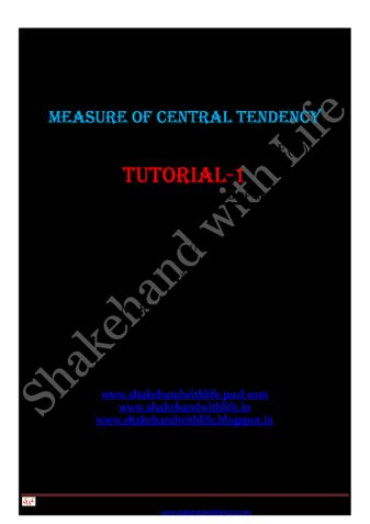 Measure of Central Tendency(Mean,  Median and Mode)