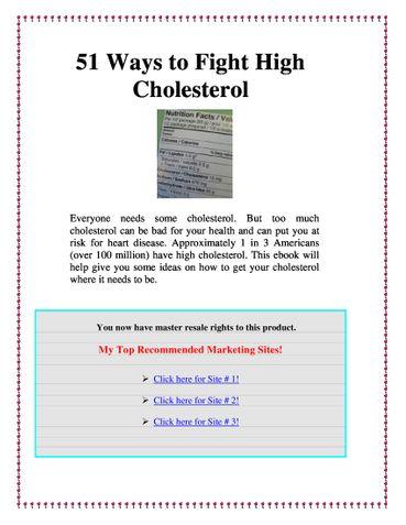51 ways to Fight Cholestrol