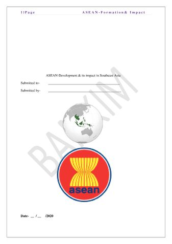 Asean -Formation & Imppact