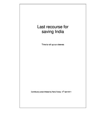 Last recourse for saving India