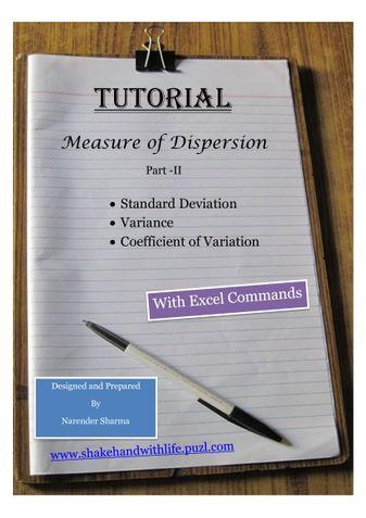 Standard Deviation, Variance, Coefficient of Variation