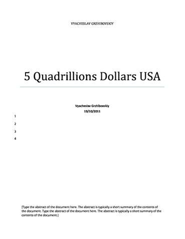 5 Quadrillions Dollars USA