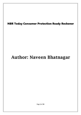 NBR Today Consumer Protection Ready Reckoner
