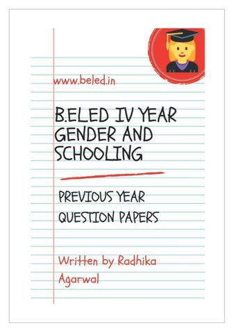B.EL.Ed Gender & Schooling Previous Year Question Papers
