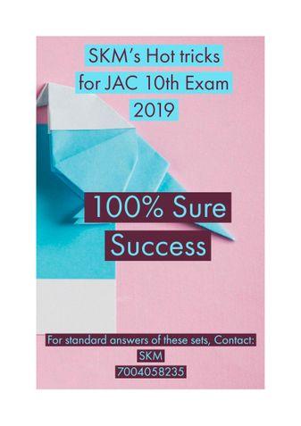 SKM 's Hot tricks for JAC 10th Exam 2019 - English