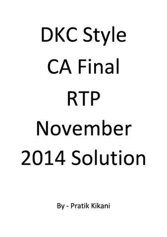 DKC Style CA Final RTP November 2014 Solution