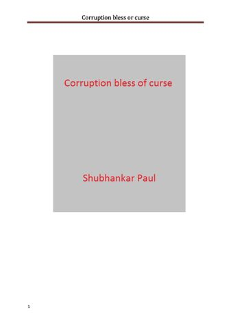 Corruption bless or curse