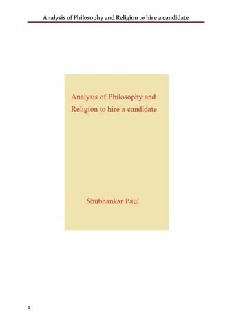 Analysis of Philosophy and Religion to hire a candidate