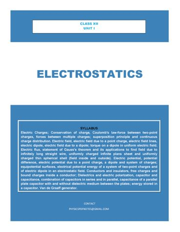 XII PHYSICS ELECTROSTATICS EASY NOTES FOR STUDENTS