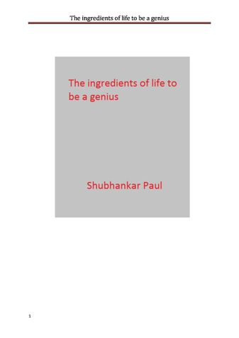 The ingredients of life to be a genius