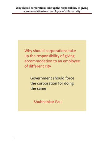 Why should corporations take up the responsibility of giving accommodation to an employee of different city
