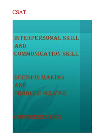 CSAT (HINDI) 3 Topic  interpersonal skills including communication skills , decision making and problem solving , comprehension By NItin Gupta