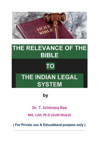 THE RELEVANCE OF THE BIBLE TO THE INDIAN LEGAL SYSTEM