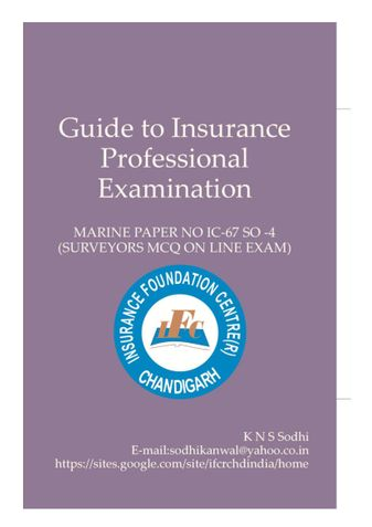 Guide To Insurance Professional Examination (Marine)