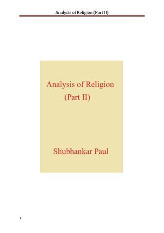 Analysis of Religion (Part II)
