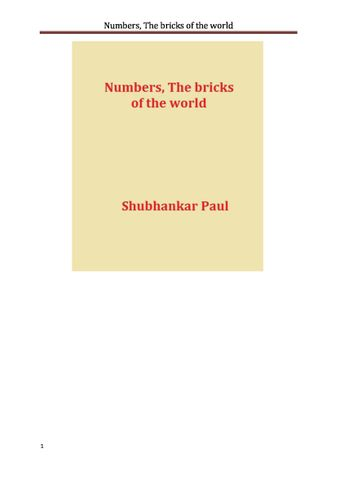 Numbers, The bricks of the world