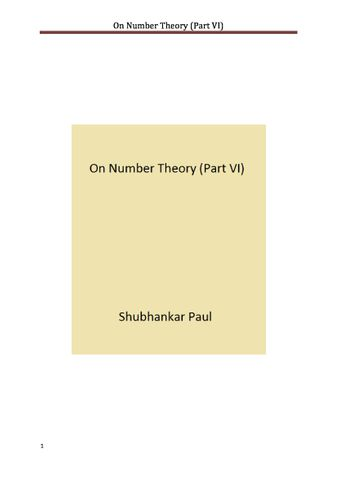 On Number Theory (Part VI)