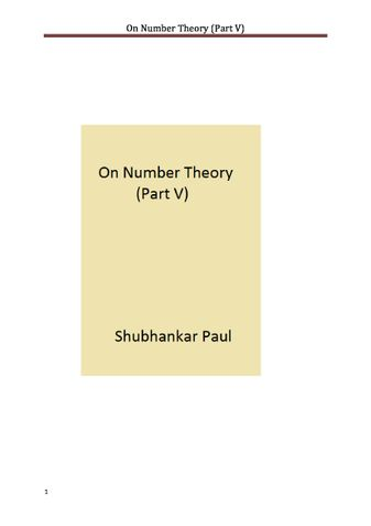 On Number Theory (Part V)