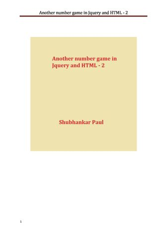 Another number game in Jquery and HTML - 2