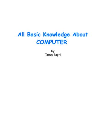 All Basic Knowledge About  Computer